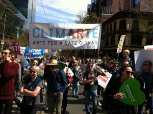 Climarte at Melbourne's march for climate action. Source: Facebook